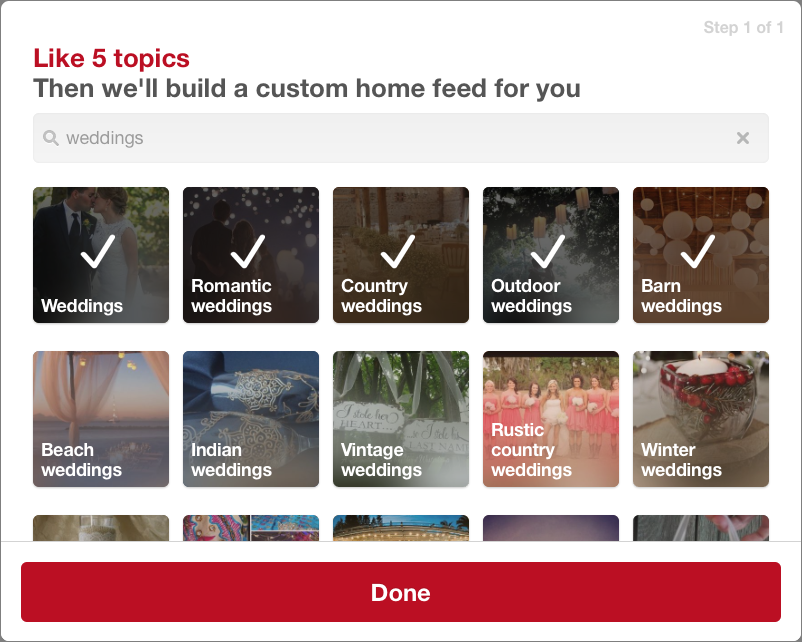 Showing how to choose Pinterest categories